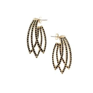 House of Harlow Feather Earrings in Gold/Black